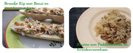 Broodje Kip met bosui en kruidenroomkaas - Risotto met paddenstoelen en kruidenroomkaas