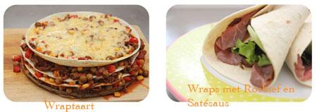 wraptaart, wraps met rosbief en satésaus