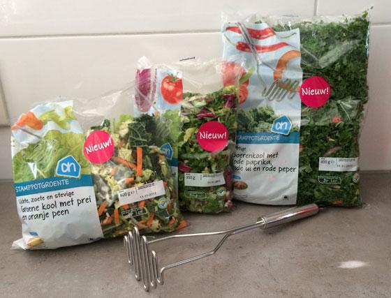 Albert Heijn Stamppotten met een Twist boerenkool, andijvie, groene kool,