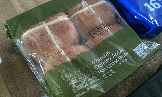 Marks and Spencer Shoplog Kentish Bramley Apple hot cross buns